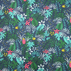 tissu coton oeko-tex motif jungle tons de bleu
